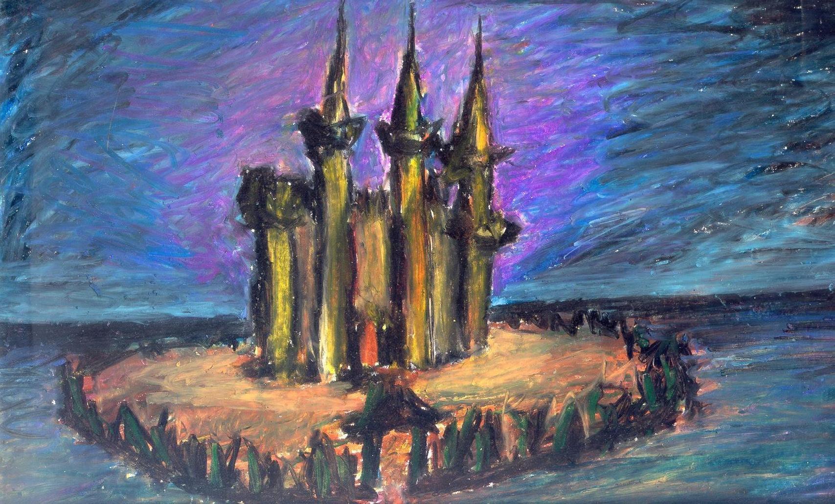 castle 1998 oil pastels